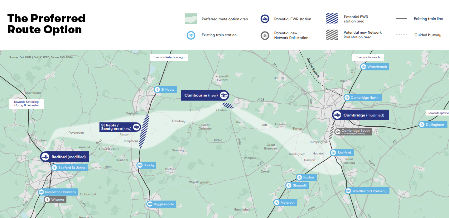 The Preferred Route Option - connecting Bedford and Cambridge via Sandy/St Neots and Cambourne